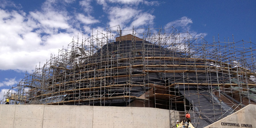 Scaffolding surrounds the American Heritage Center at the University of Wyoming