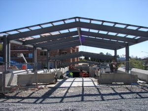 The skylight covers the entrance/exit ramp to the underground parking structure.