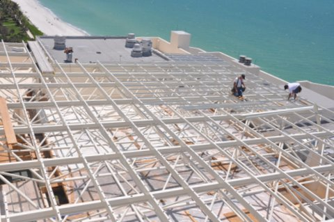 The space frame is ready to accept the CPI Daylighting U-Lite panels.