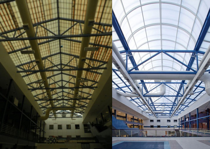 Yellowed, fiberglass skylight on the left, new CPI Daylighting retrofit skylight on the right.