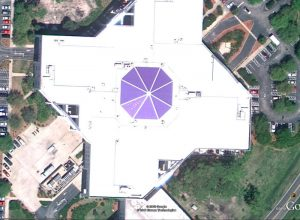 Satellite Image of Monumental Skylight after replacement with blue polycarbonate panels.