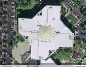Satellite Image of Monumental Skylight before replacement with yellowed fiberglass panels.