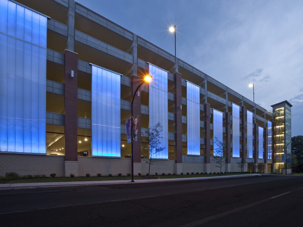 Akron Children's Hospital at night with blue LED lighting.
