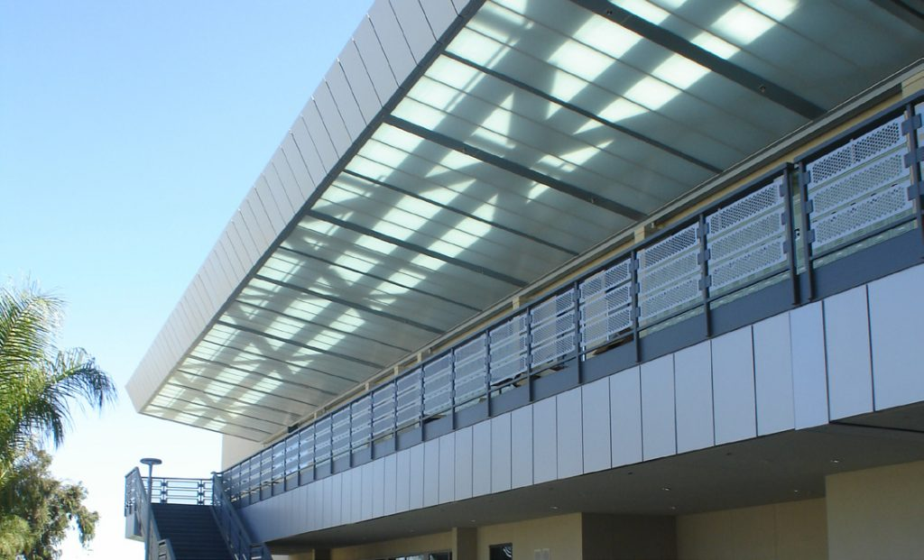 Costa Mesa High School 2nd level walkway Quadwall covering.