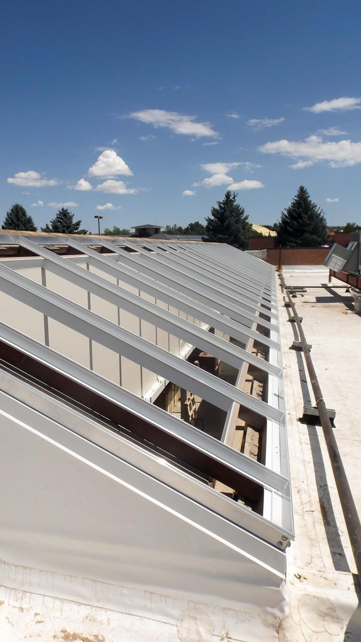 Single slope skylights sheridan college commercial for Skylight framing