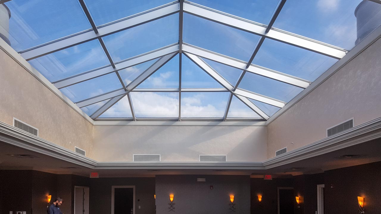 Glass skylight consultation the franklin hotel for Skylight framing