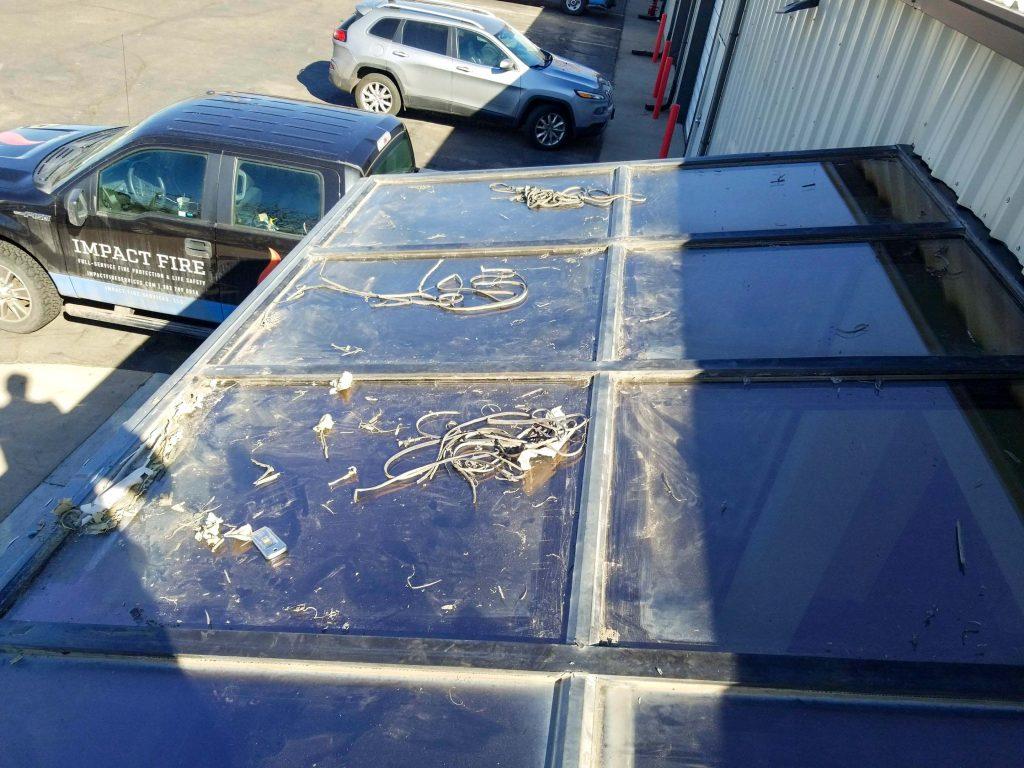custom skylight repair impact fire